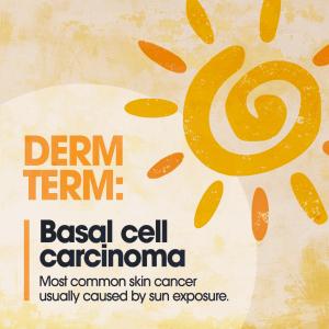 Cartoon sun, derm term, basal cell carcinoma